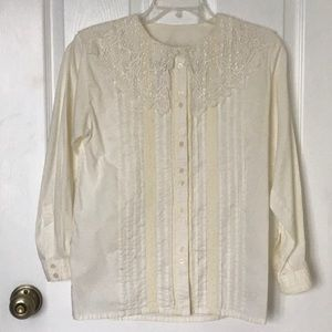 Vintage Cotton Victorian Style Lace Collar Shirt